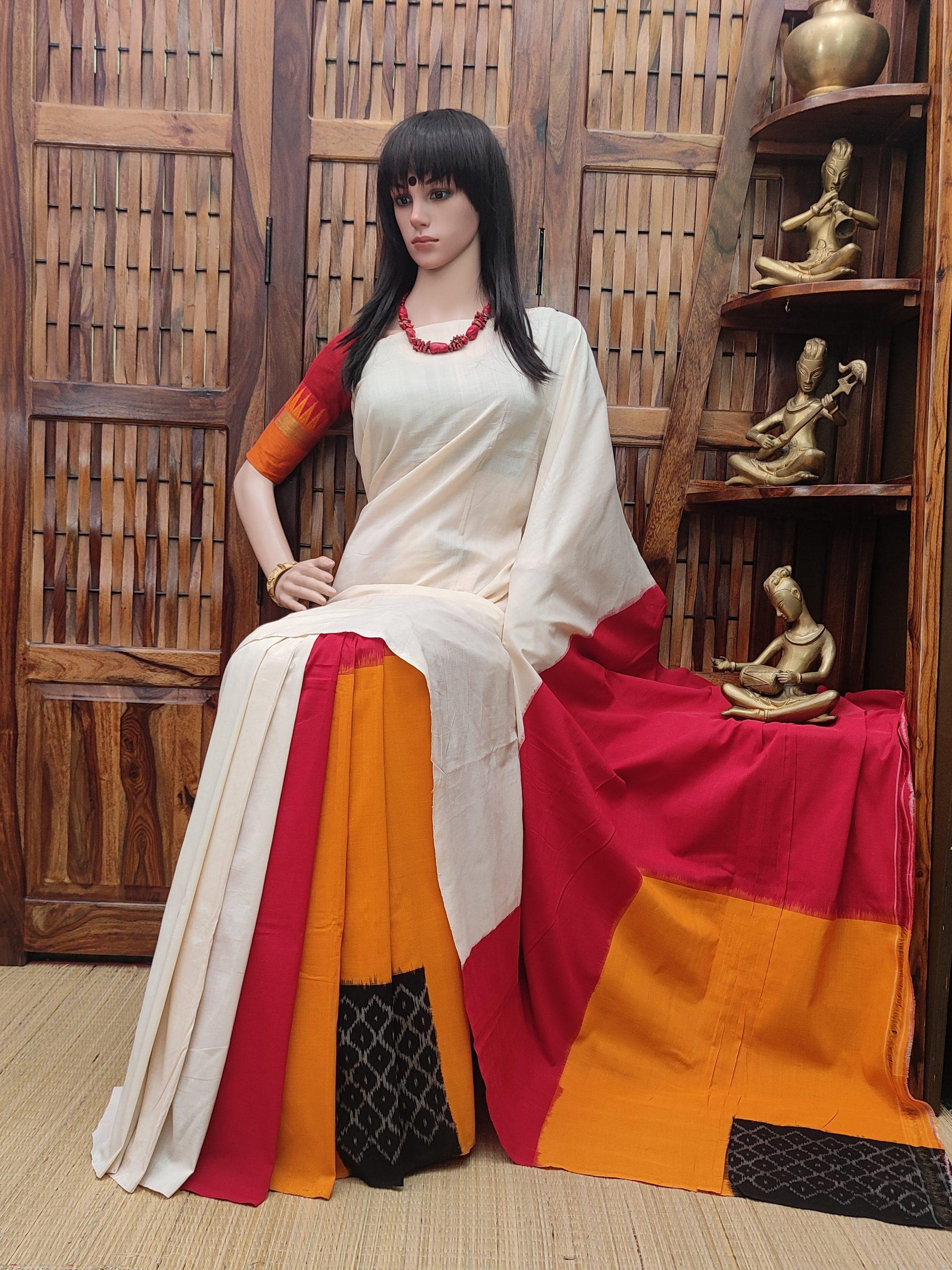 Punaila - Ikkat Cotton Saree