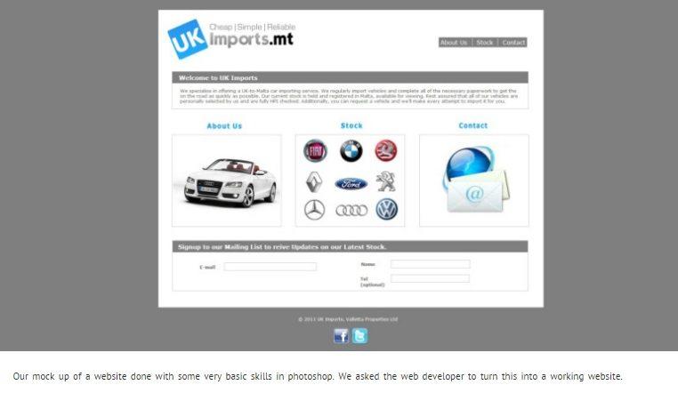 malta website mockup