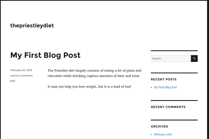 bluehost wordpress first post