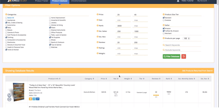 product database jungle scout amazon seller tools