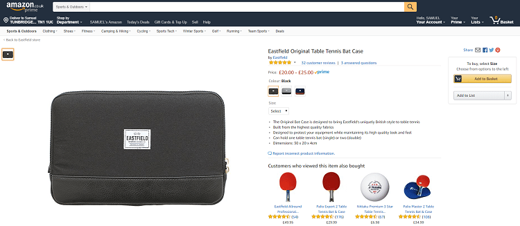 eastfield table tennis bat case for sale on amazon