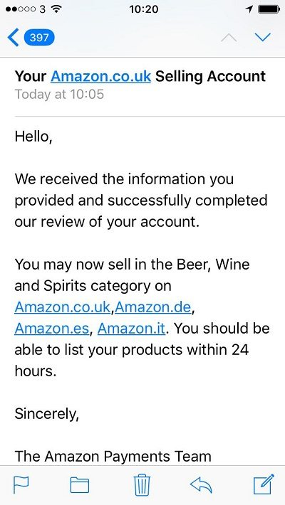 email confirming we can sell wine beer spirits on amazon