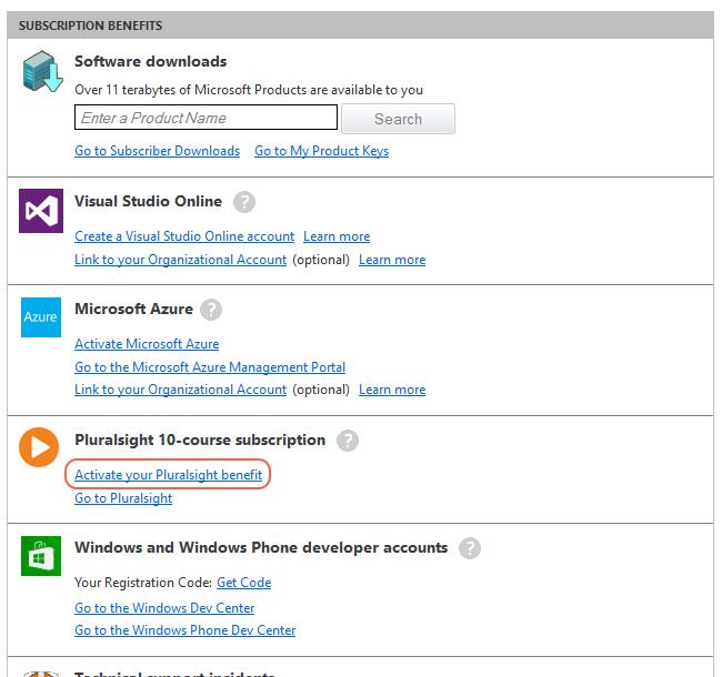 MSDN benefits screen