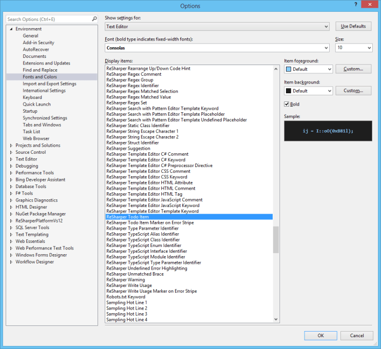 Visual Studio Settings showing the Todo item color setting is correct