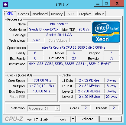 CPU-Z results for an Amazon EC2 m1.large instance