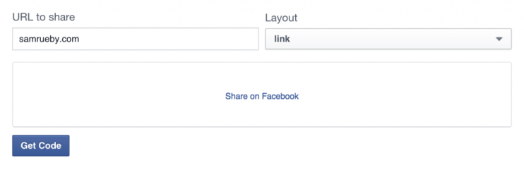 "Screenshot of generated ""Share on Facebook"" link"