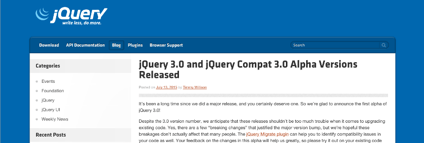 jQuery 3.0 alpha blog post screenshot
