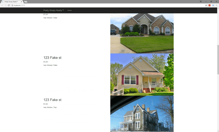 Fake realty site showing Custom Vision Service being used to find third-story windows.