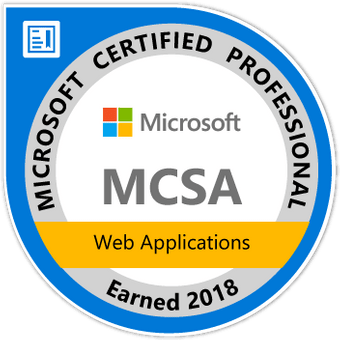 Microsoft Certified Professional, MCSA, Web Applications Earned 2018