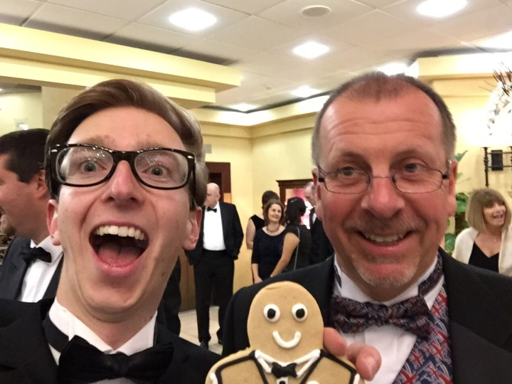 Sam French of Sam's Kitchen with gingerbread man and Jeremy Taylor at Gatwick Diamond Business Awards