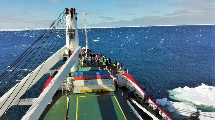 BREAKING RECORD: The SA Agulhas, South Africa's dedicated cadet training vessel under the command of the South African Maritime Safety Authority (SAMSA) in the icy Prydz Bay approaching the southern sea line with the Antartica region on Monday. The vessel is on a scientific cruise and training expedition between Mauritius and Antartica