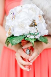 Hochzeit, Brautstrauß, Broschenstrauß