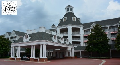 The Main Entrance, pulling up may be the only time you see the front. You'll spend most of your time behind the resort, facing Disney's Boardwalk and Crescent Lake