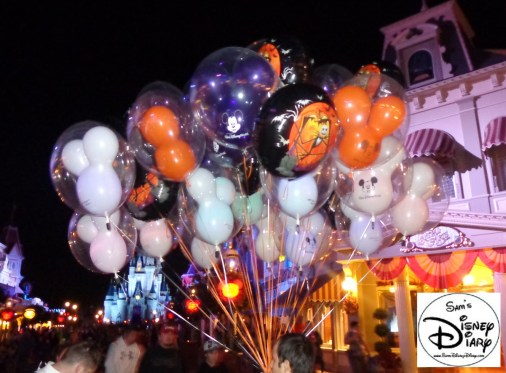 Party Balloons line Main Street USA ready for Mickey's No-So-Scary Halloween Party