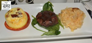 Star Wars Weekend Galactic Breakfast. The Kessel Run. Grilled Beef Tenderloin on Baby Spinach with Bacon and Cheddar Custard on Roasted Tomato and Cheesy Horseradish Potatoes