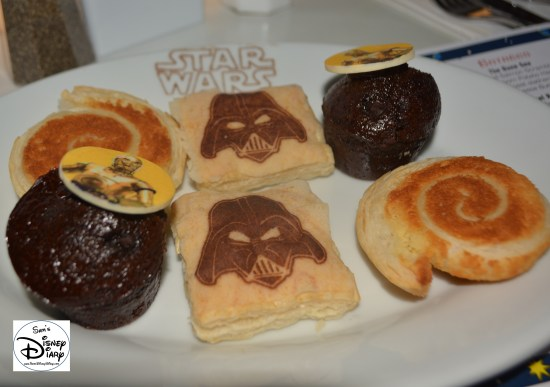 Star Wars Weekend Galactic Breakfast. Breakfast Pastries including Vanilla Cream Turnover, Almond Pastry, and Double Chocolate Muffin