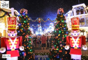 Sams Disney Diary #65 - Cinderella Castle Lights and Main Street Christmas Decorations as seen in 2013 - Before the Daily Festival of Fantasy Parade - The Parade required the decorations be changed to accommodate the large floats on main street.
