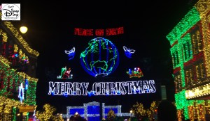The Osborne Family Lights Feature Marquee - Peace on Earth (The red light on the globe is the original location of the lights, Little Rock, AZ)