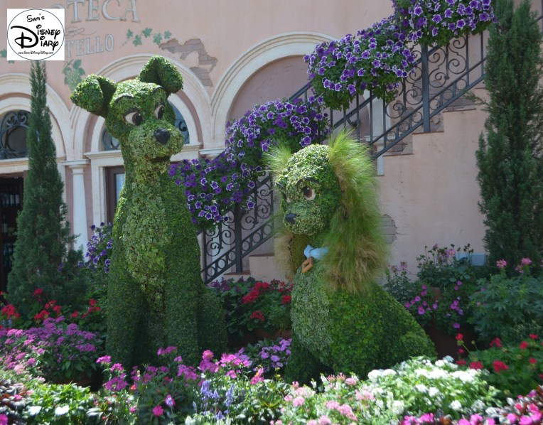 Epcot Flower and Garden Festival - Lady and the Tramp Topiary in Italy