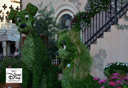 The 2017 Epcot International Flower and Garden Festival - Lady and the Tramp, a festival main stay.