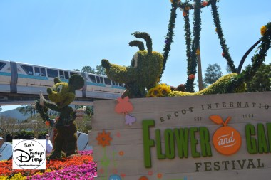 The 2017 Epcot International Flower and Garden Festival - The Entrance Topiary, Welcome to Spring Fun, Food and Flowers
