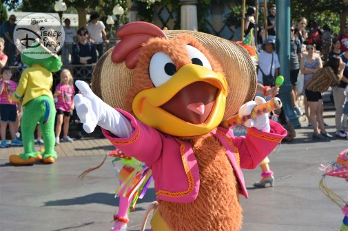 Panchito Pistoles part of Donald's Fiesta Fantastico parade unit. Disneyland Soundsational parade