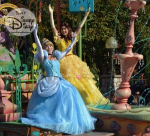 Cinderella and Bell on the Royal Princess Romantic Melodies float in Mickey's Soundsational Parade