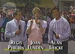 1990 Walt Disney World Happy Easter Parade - Co-Hosts Regis Philbin, Joan Lunden and Alan Thicke