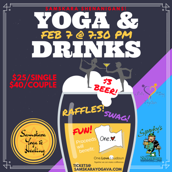 SAMSKARA SHENANIGANS! Yoga & Drinks at Spanky's Shenanigans in Leesburg!