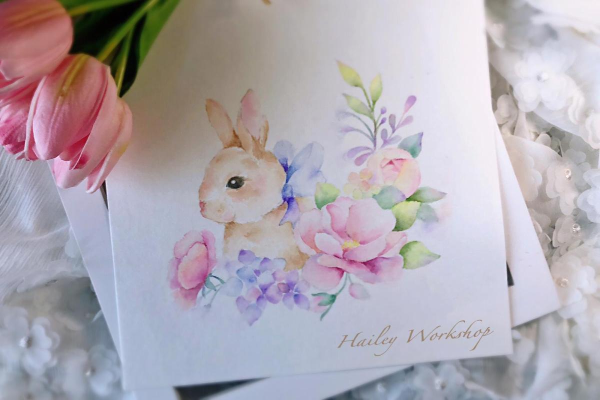 Rabbit & Florals Watercolour Class 小兔花束水彩畫班 (軟筆水彩中級班)