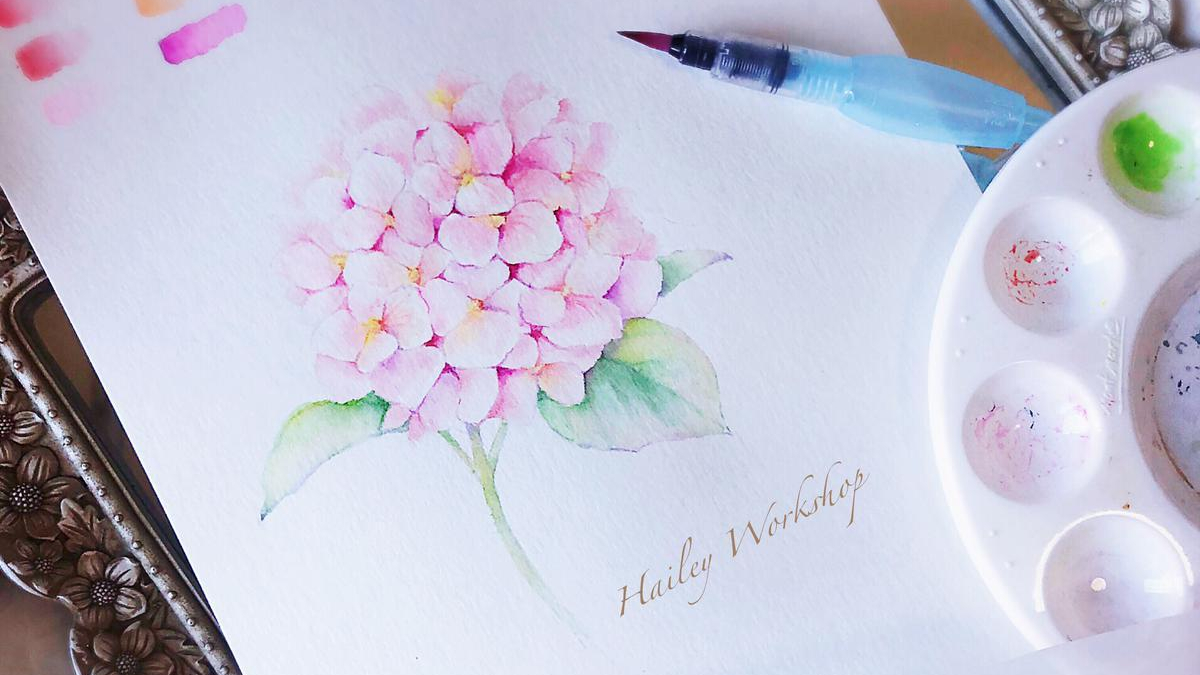 Hydrangea Watercolour Brushpen Painting Class 繡球花水彩軟筆畫班