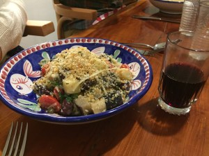 Linguini and wine at DiAnoia's
