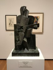 Cubist sculpture that reminded me of The Old Guitarist by Picasso. Guitar Player by Jacques Lipchitz