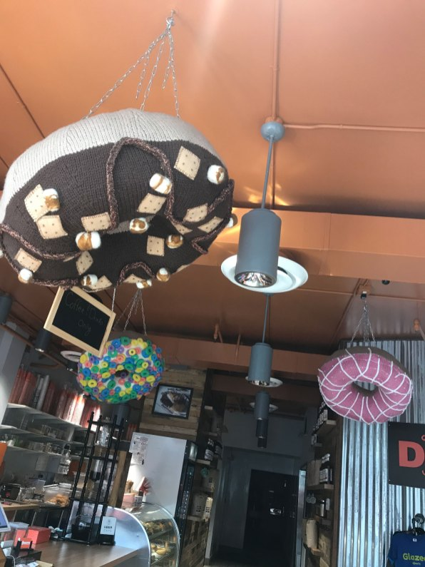 Cute giant knitted donuts at Sugar Shack