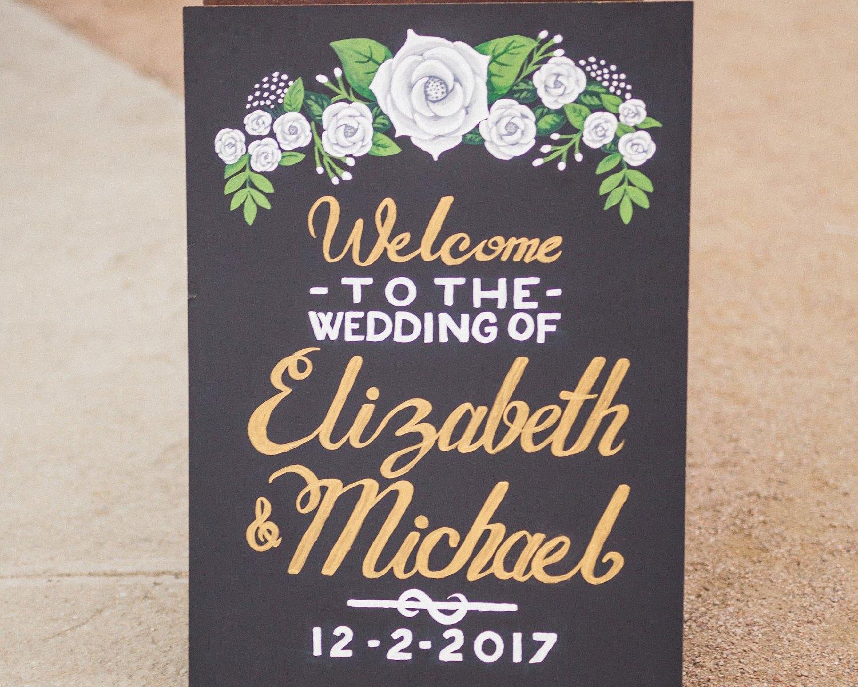 Liz & Mike Wedding Welcome Chalkboard (photo by HappyDay Media)