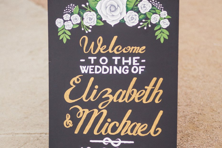 Liz & Mike Wedding Welcome Chalkboard (photo by HappyDay Media)