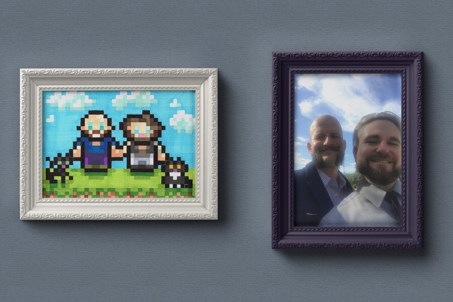 8-Bits for 8-Years Couples Portrait Mockup