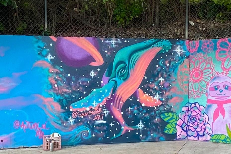 Space Whale Mural at El Tacorrido on East Riverside in Austin, Texas