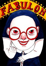 Watercolour painting of Olympia Binewski, an albino dwarf with no hair and red glasses, smiling in an unsettling way and beckoning with one finger. Behind her is darkness and above her is an arched sign reading 'Fabulon' in stylised letters, surrounded by small lights