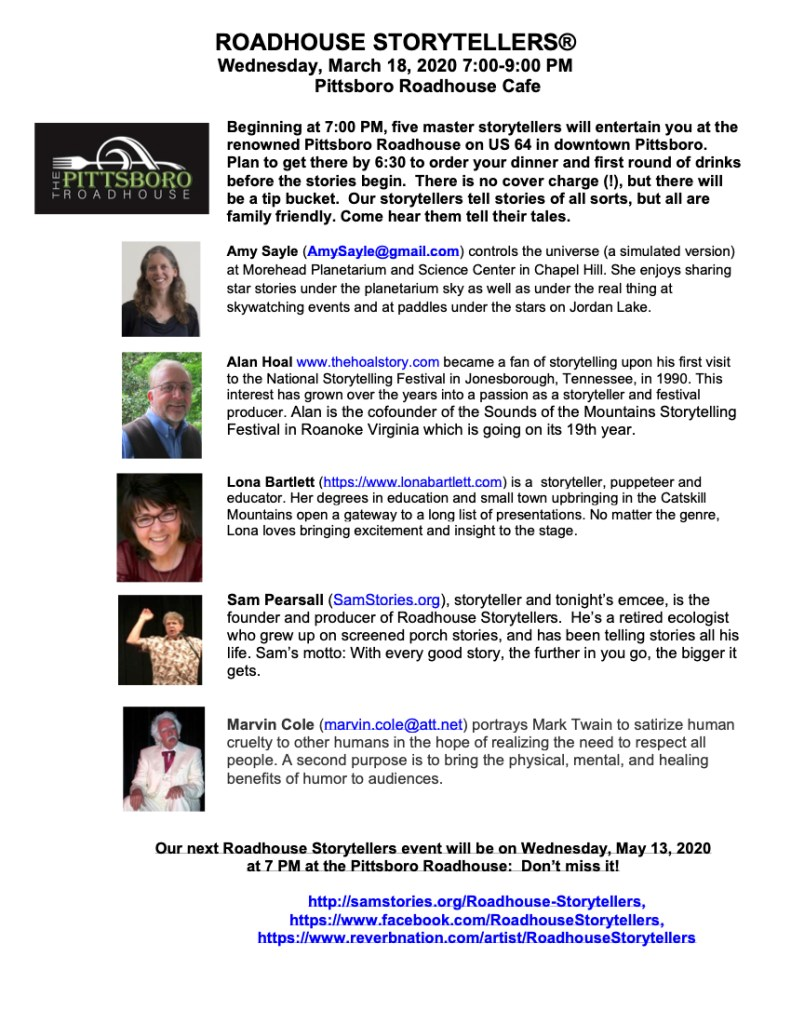 Roadhouse Storytellers March 18th 2020 storytellers poster with five storytellers at the Pittsboro Roadhouse
