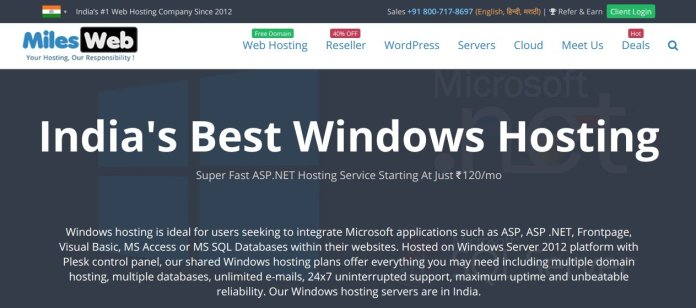Milesweb India hosting provider