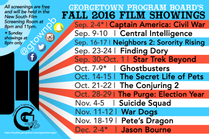 GPB's Fall 2016 Films Schedule Magnet. Over 400 magnets are ordered and distributed each semester.