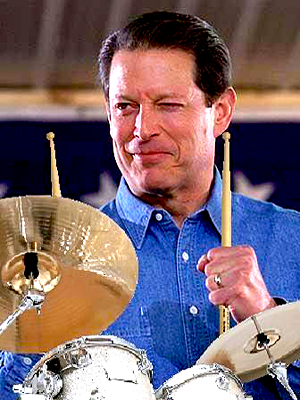 Al Gore playing drums