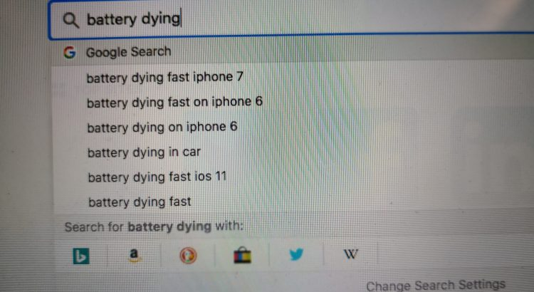 Capture of a Google search about battery dying