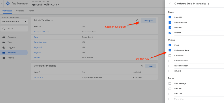 Enable the Environment Name variable in Google Tag Manager