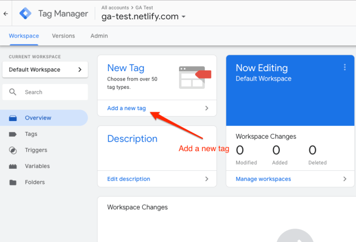 Main screen of Google Tag Manager