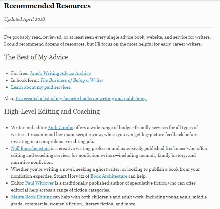 Example of resources page