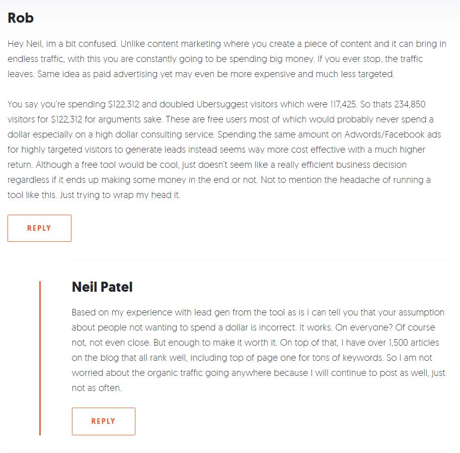 Neil Patel Blog Post comment