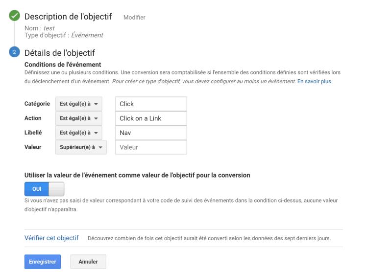 Définir des Objectifs dans Google Analytics de type Evénements