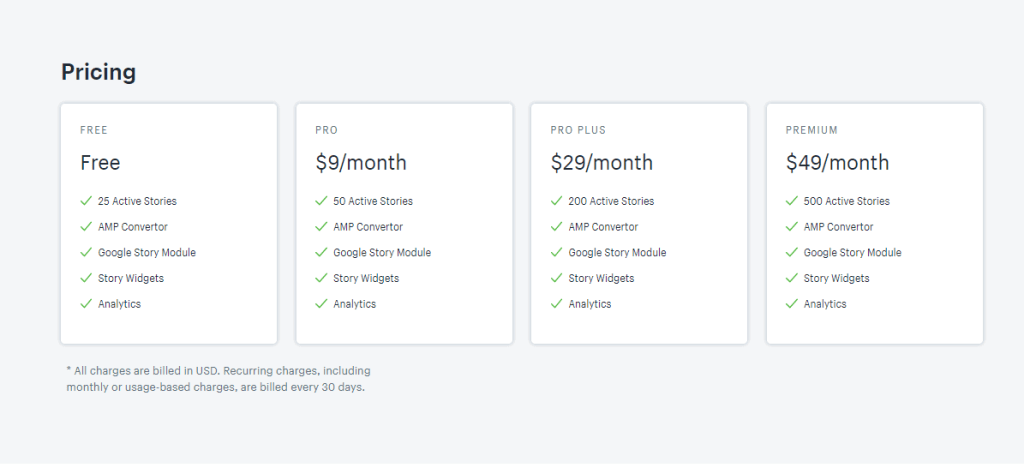 ProductStories - Pricing